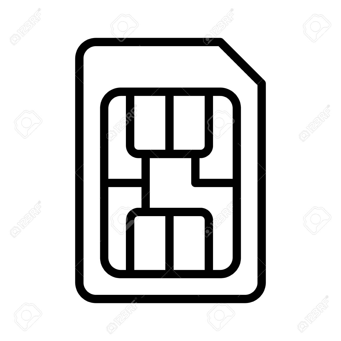 sim card or subscriber identity identification module chip line art vector icon for apps and