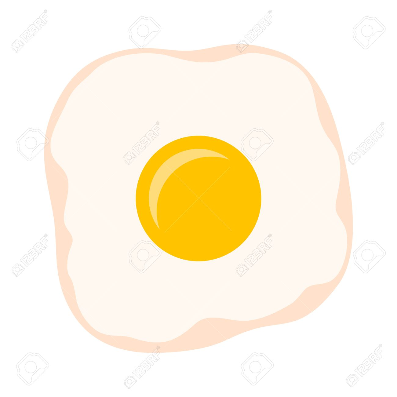 Cooked Fried Egg With Yolk And Egg White Flat Color Vector Icon ... for Clipart Yolk  104xkb