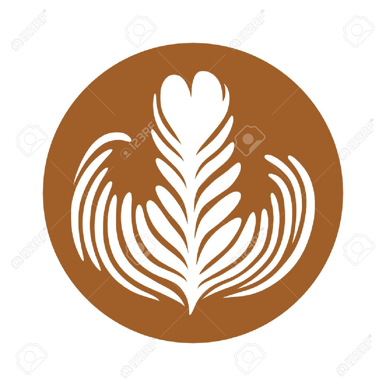 Latte / espresso art of a rosette leaf flat color vector icon for coffee apps and websites - 70448312