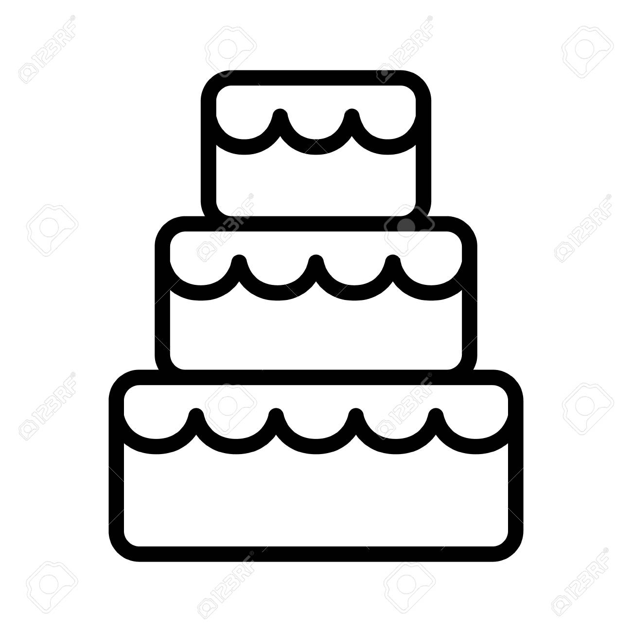 Stacked Wedding Cake Dessert With Frosting Line Art Vector Icon