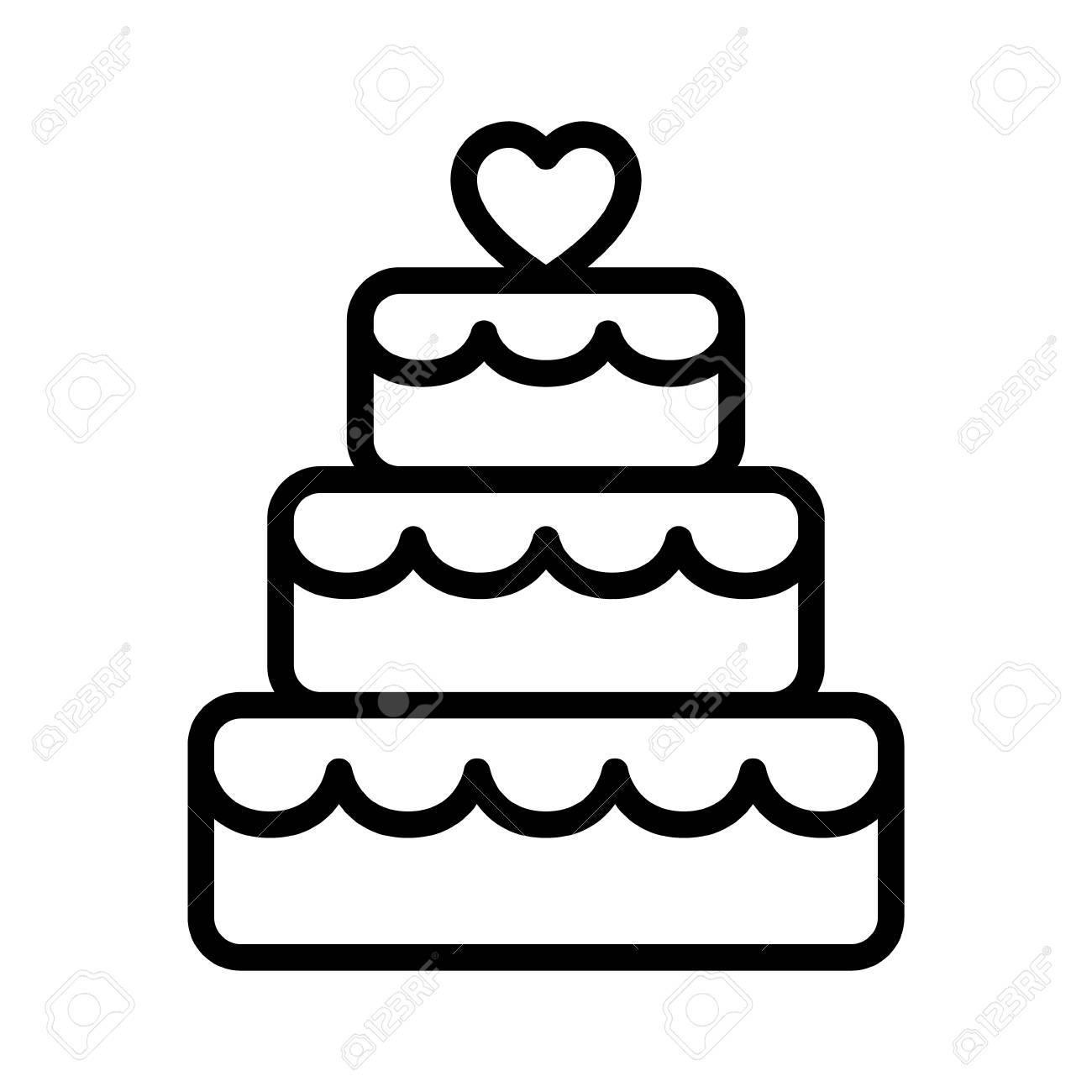 Gestapelte Hochzeitstorte Dessert Mit Linie Symbol Herz Topper Kunst