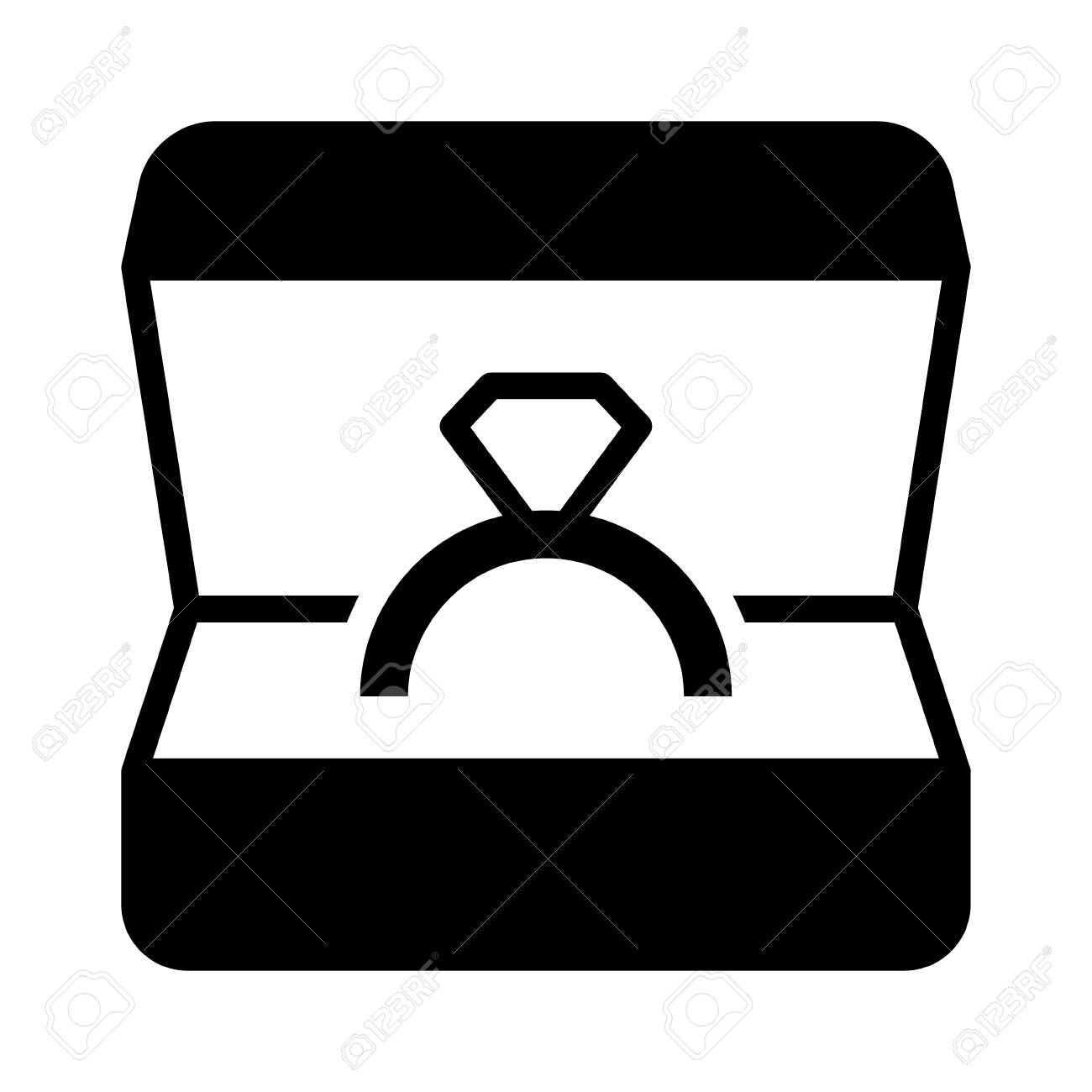 Ring Box With Engagement Or Wedding Ring Flat Vector Icon For