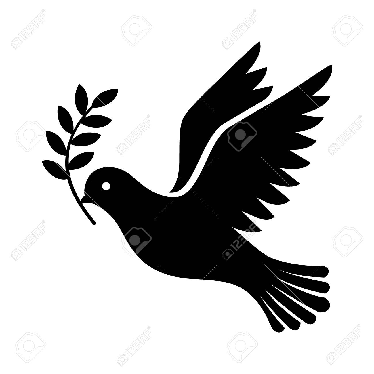 Flying dove holding an olive branch as a sign of peace flat vector icon for apps and websites - 70392184