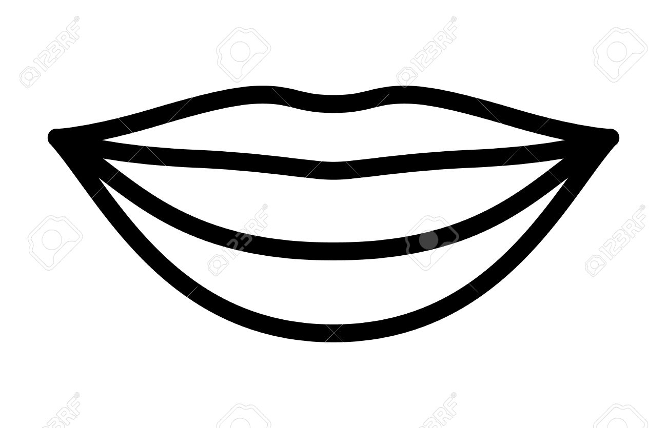 smiling lips with white teeth or smile line art vector icon for