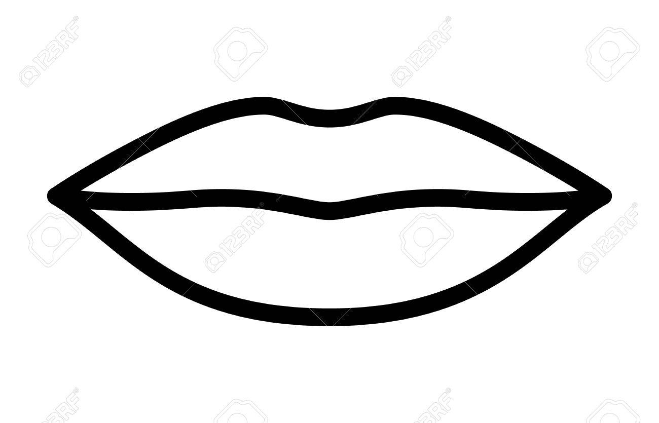 Line art vector photo : Woman's lips for kissing kiss line art vector icon apps