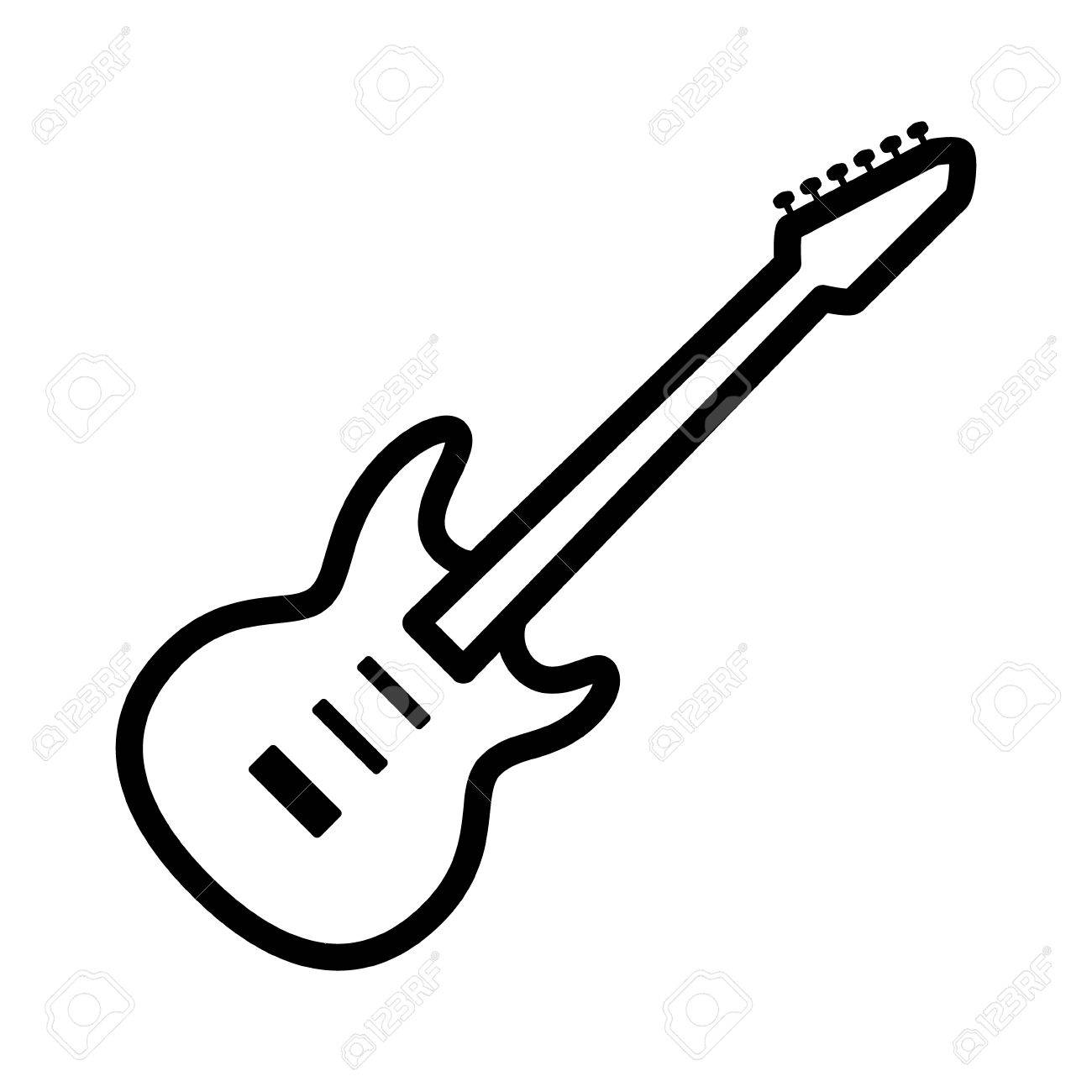electric guitar musical instrument line art vector icon for music rh 123rf com guitar vector free guitar vector free corel draw