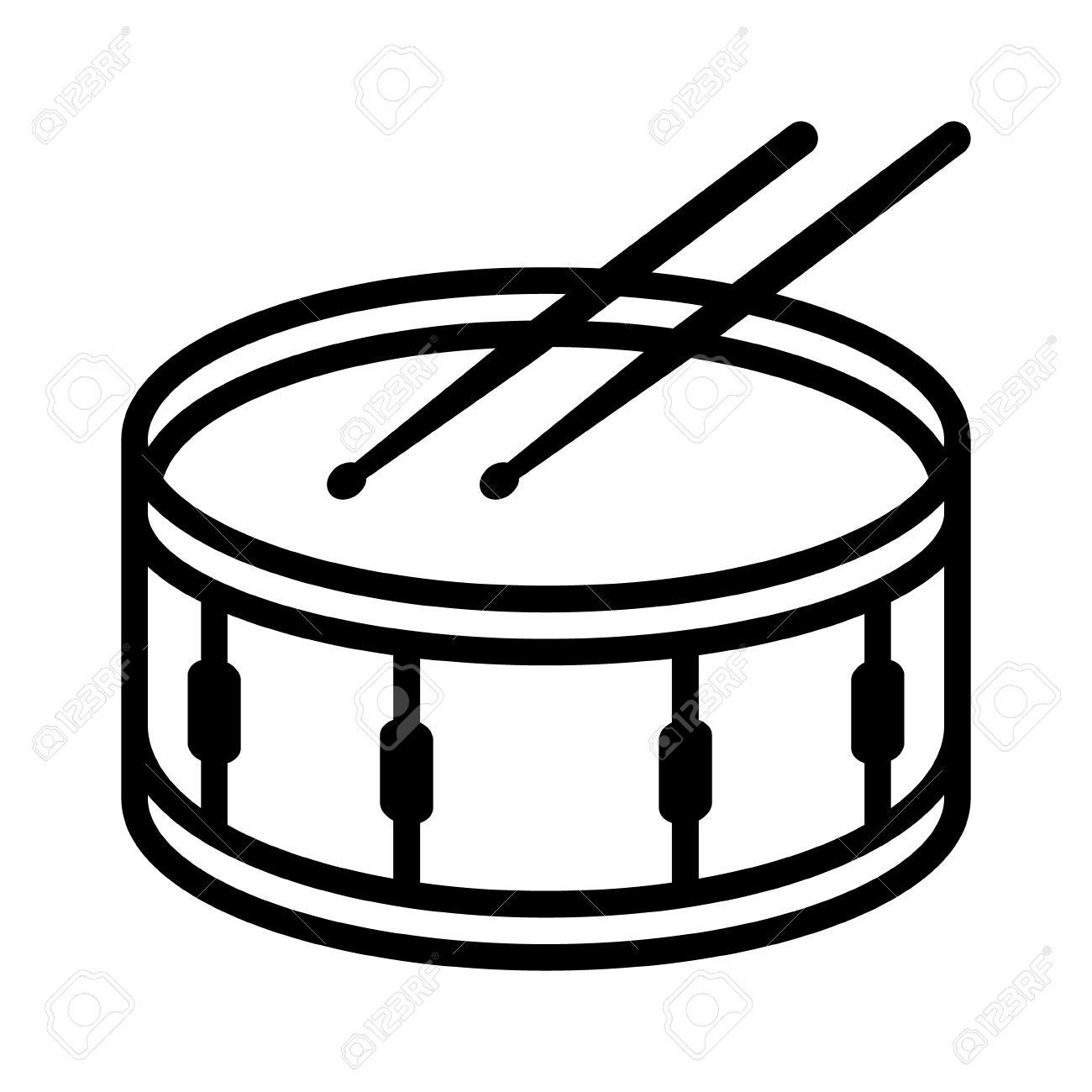 snare drum or side drum with drumsticks musical instrument line rh 123rf com free drumline clipart