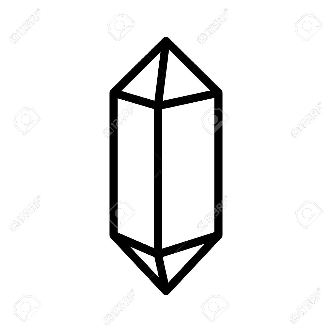 Quartz crystal or crystalline solid line art vector icon for