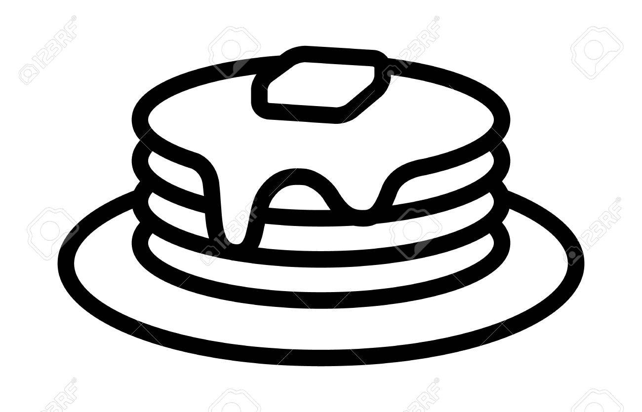 breakfast pancakes with syrup and butter on a plate line art rh 123rf com pancake clip art black and white pancakes clip art free
