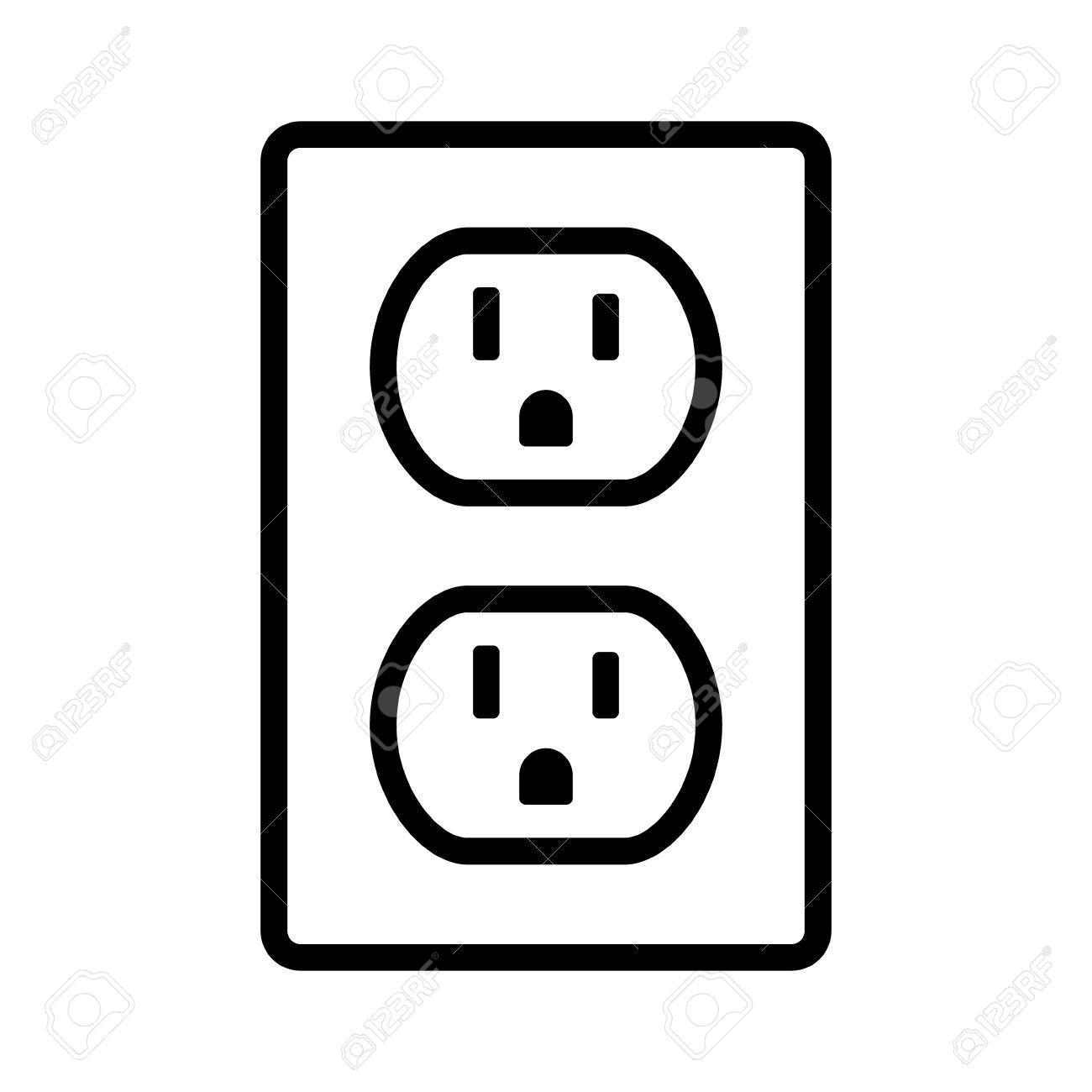 Two NEMA 5-15 Grounded Power Outlet / Ac Socket Line Art Vector ...