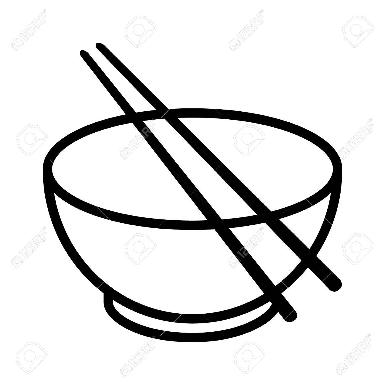 bowl with chopsticks line art vector icon for food apps and websites