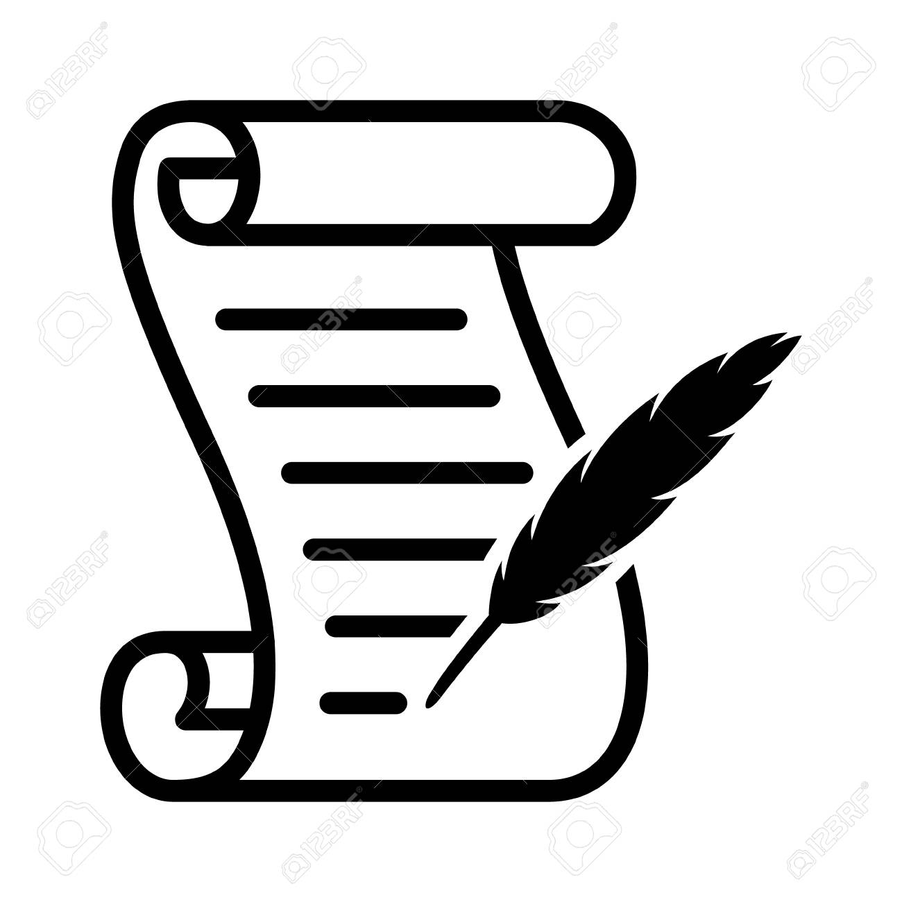 writing on a scroll with a feather quill pen line art vector