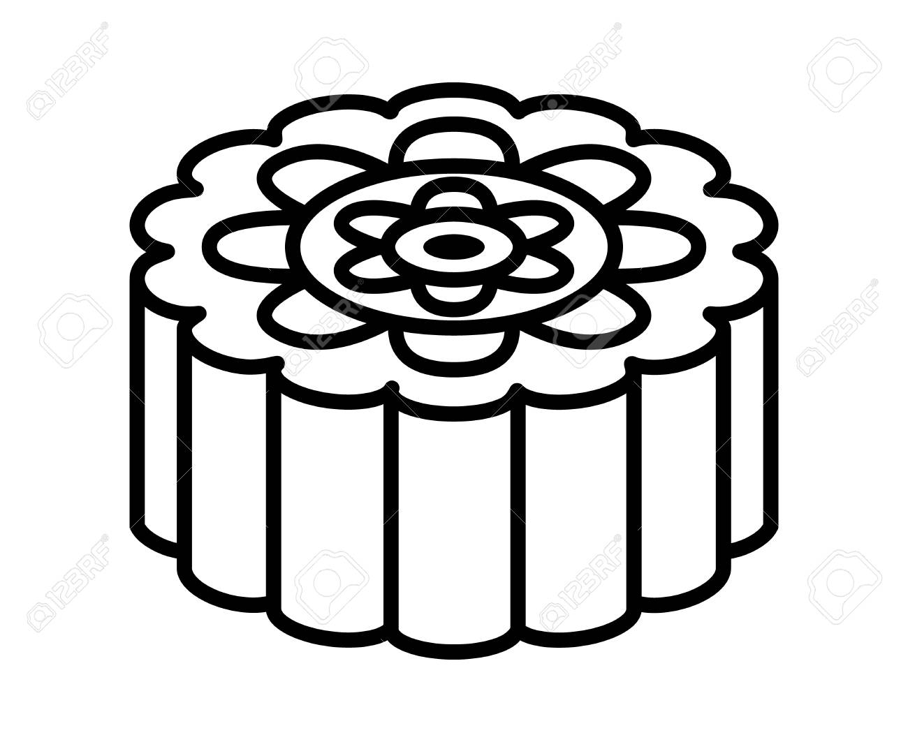 mooncake or moon cake for the mid autumn festival line art vector