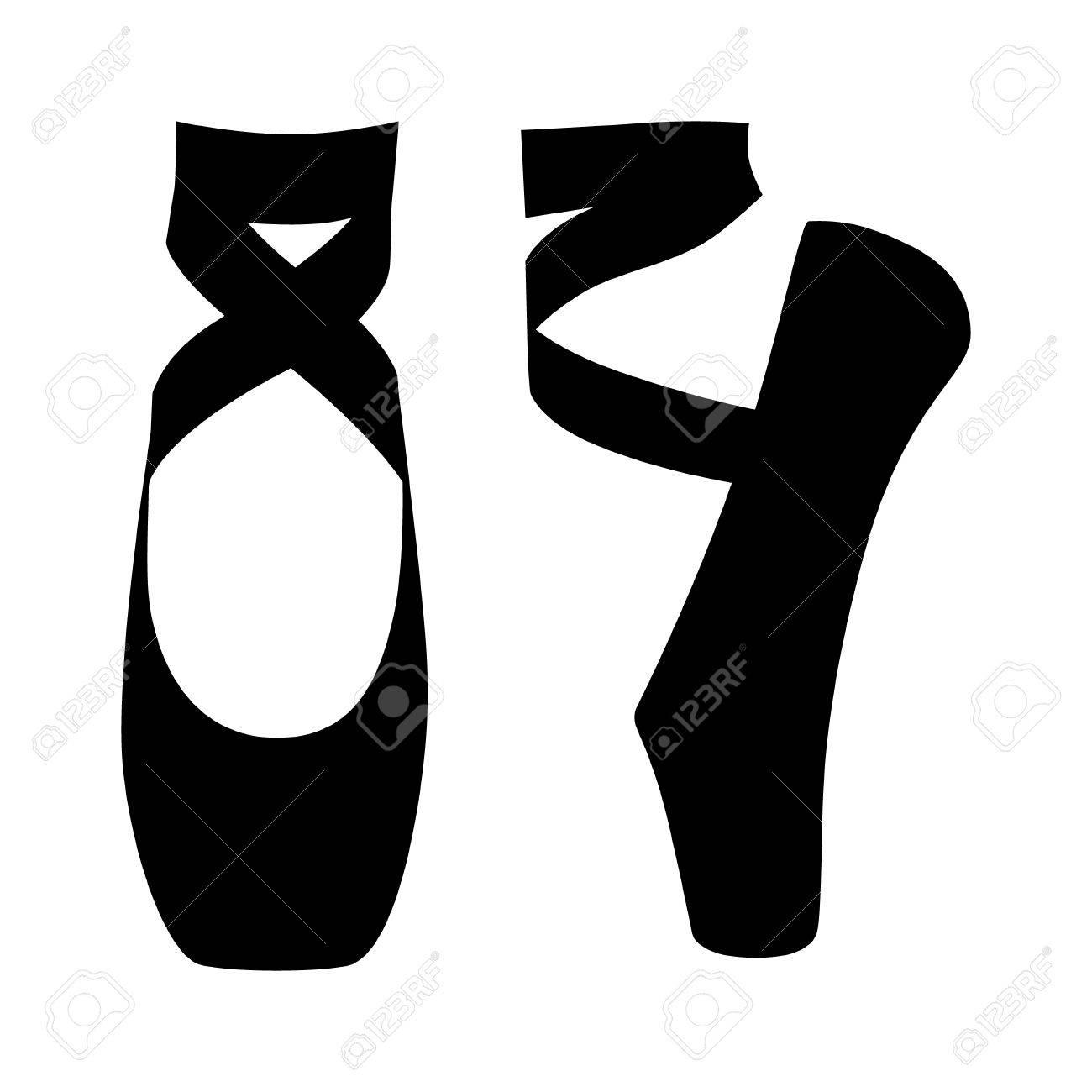 Ballet dance / dancing shoes or slippers in en pointe position