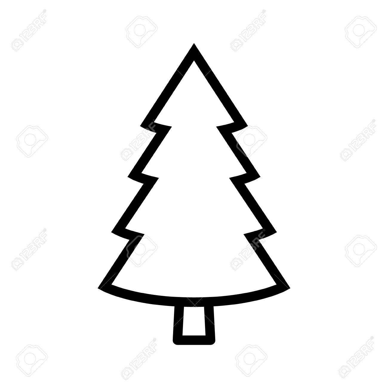 Evergreen Conifer Pine Tree Flat Stylized Line Art Vector Icon For Apps And Websites Stock