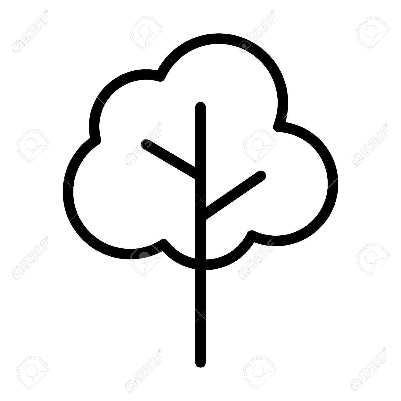 Simple Cartoon Tree Or Plant Line Art Vector Icon For Nature