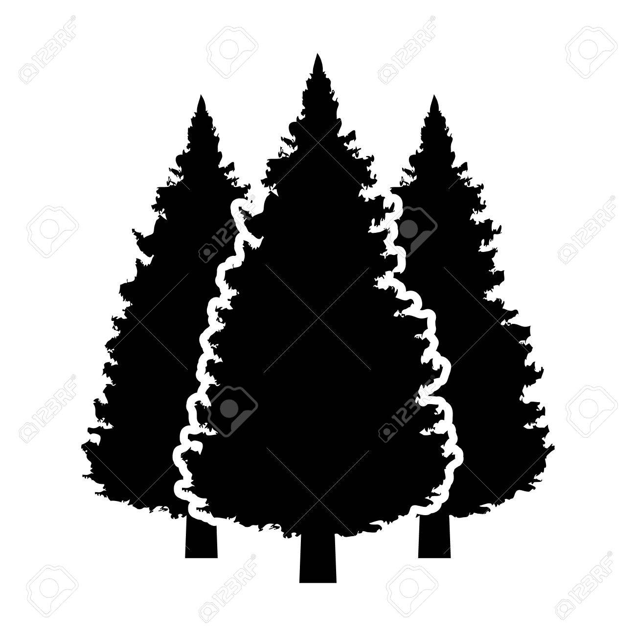 three conifer pine trees in a forest or park flat vector icon rh 123rf com pine tree vector free download pine tree vector free download