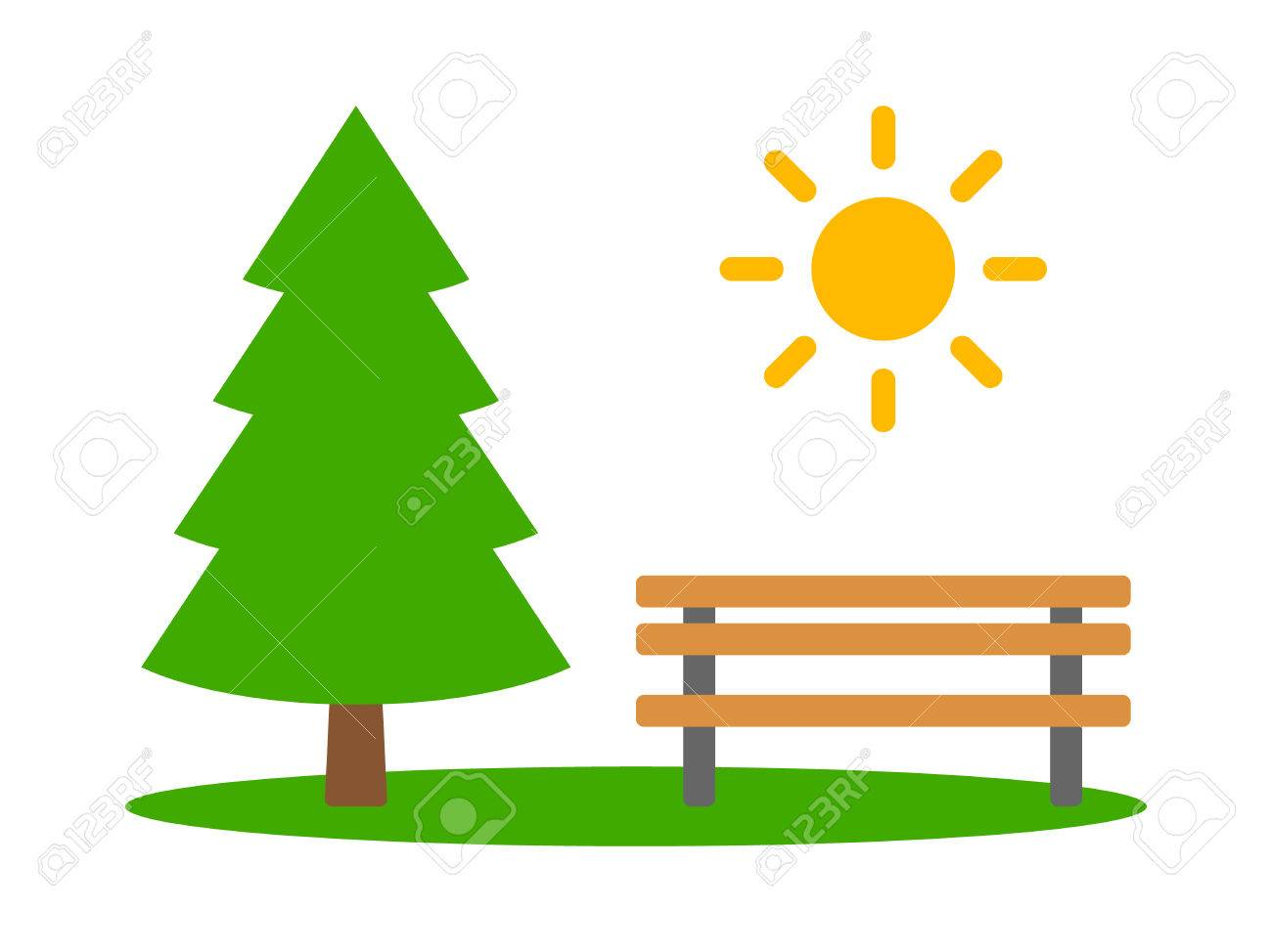 Three Conifer Pine Trees In A Forest Or Park Flat Vector Icon ...
