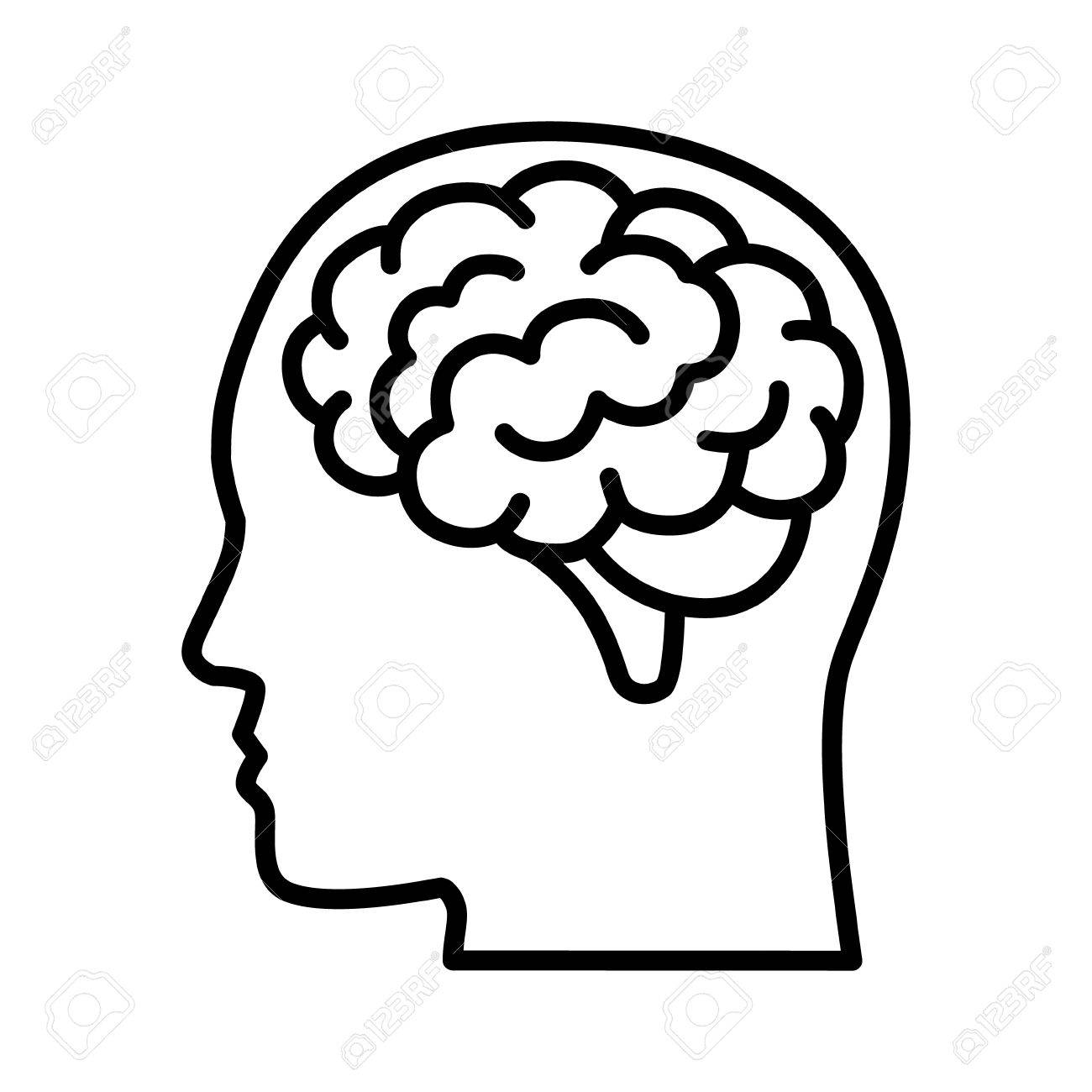 Vista Lateral Del Cerebro O La Mente Dentro Del Icono De Vector De ...
