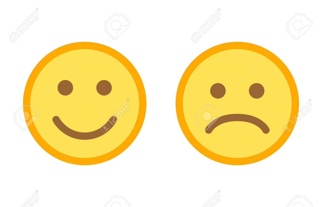 happy and sad emoji smiley faces flat vector color icon for apps