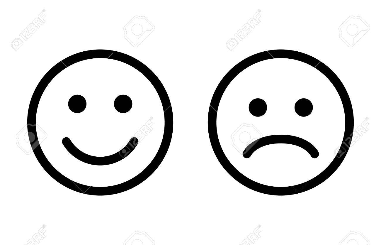 Happy and sad emoji smiley faces line art vector icon for apps and websites - 84983259