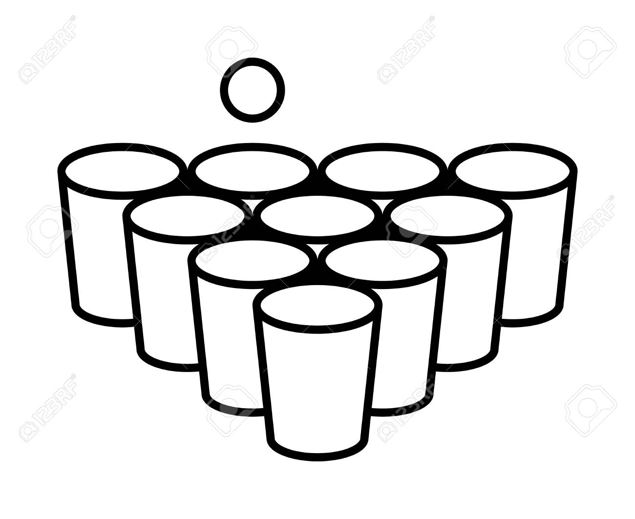 Beer pong or beirut drinking game with cups with ball line art