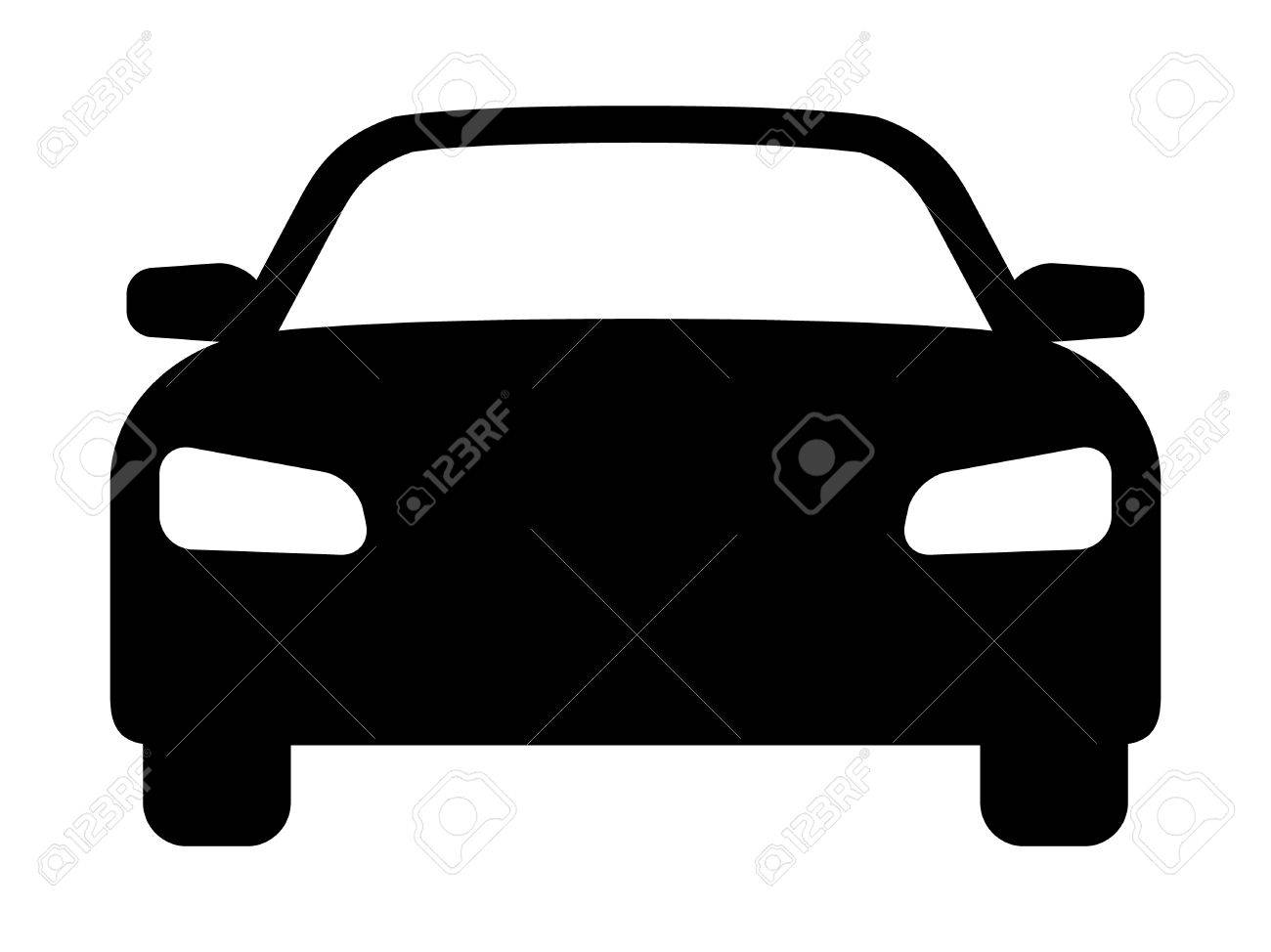 Sedan Car Vehicle Or Automobile Front View Flat Vector Icon
