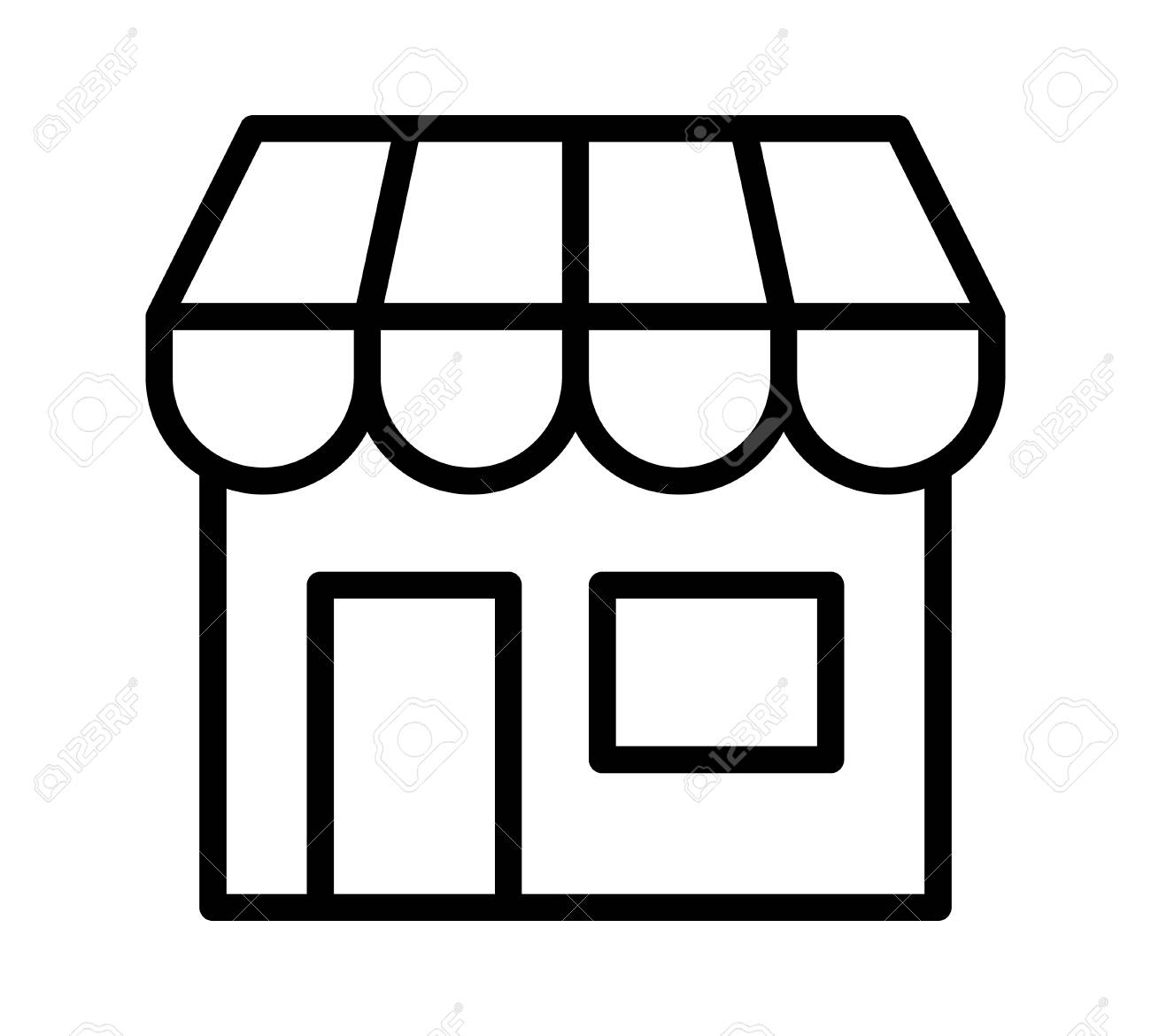 online store marketplace or ecommerce shop line art vector icon rh 123rf com