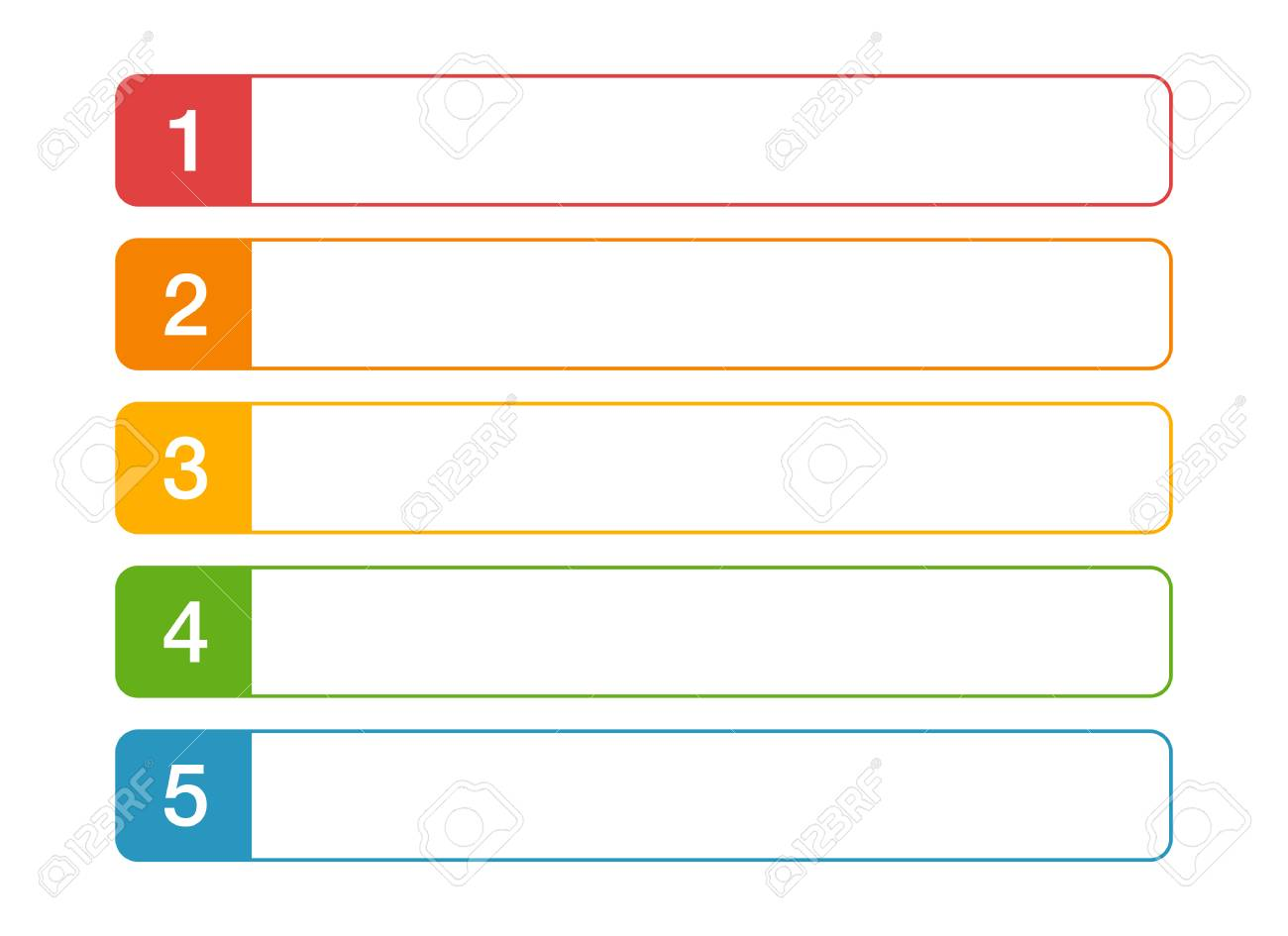 modern numbered list design template with colorful squares and