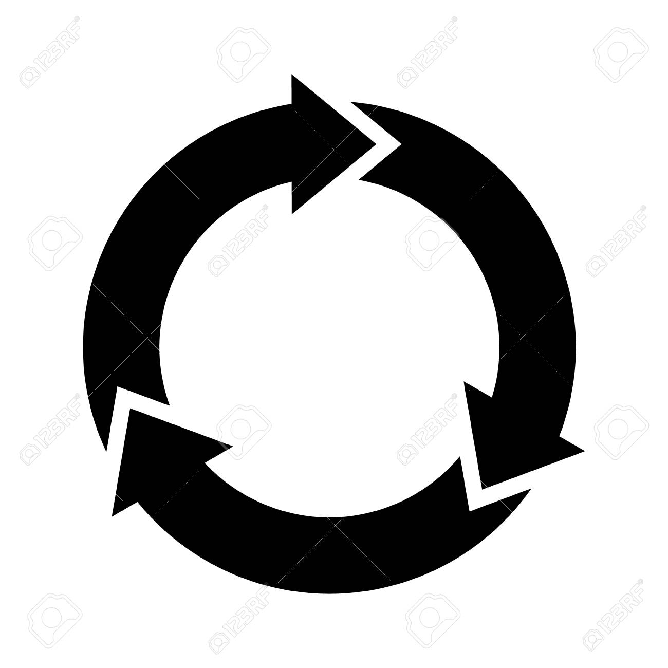 Three circle arrows in a round rotating circular motion flat vector icon for apps and websites - 97882035