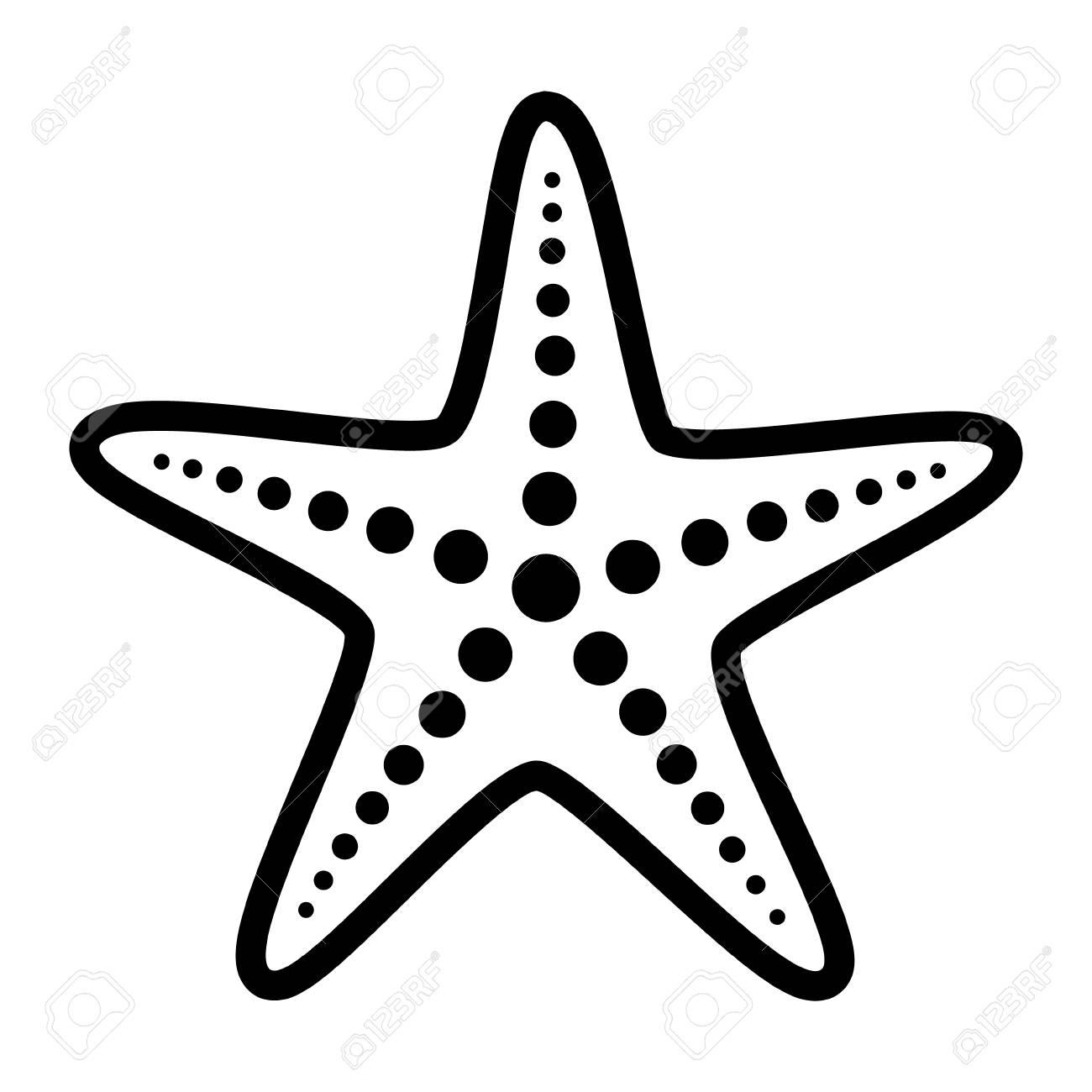 Black White Sea Star Outline Wiring Diagrams Figure 4mcs Rigid Hull Inflatable Boat Diagram Sheet 1 Common Starfish Or Fish Marine Life Line Art Vector Rh 123rf Com Blue Clip
