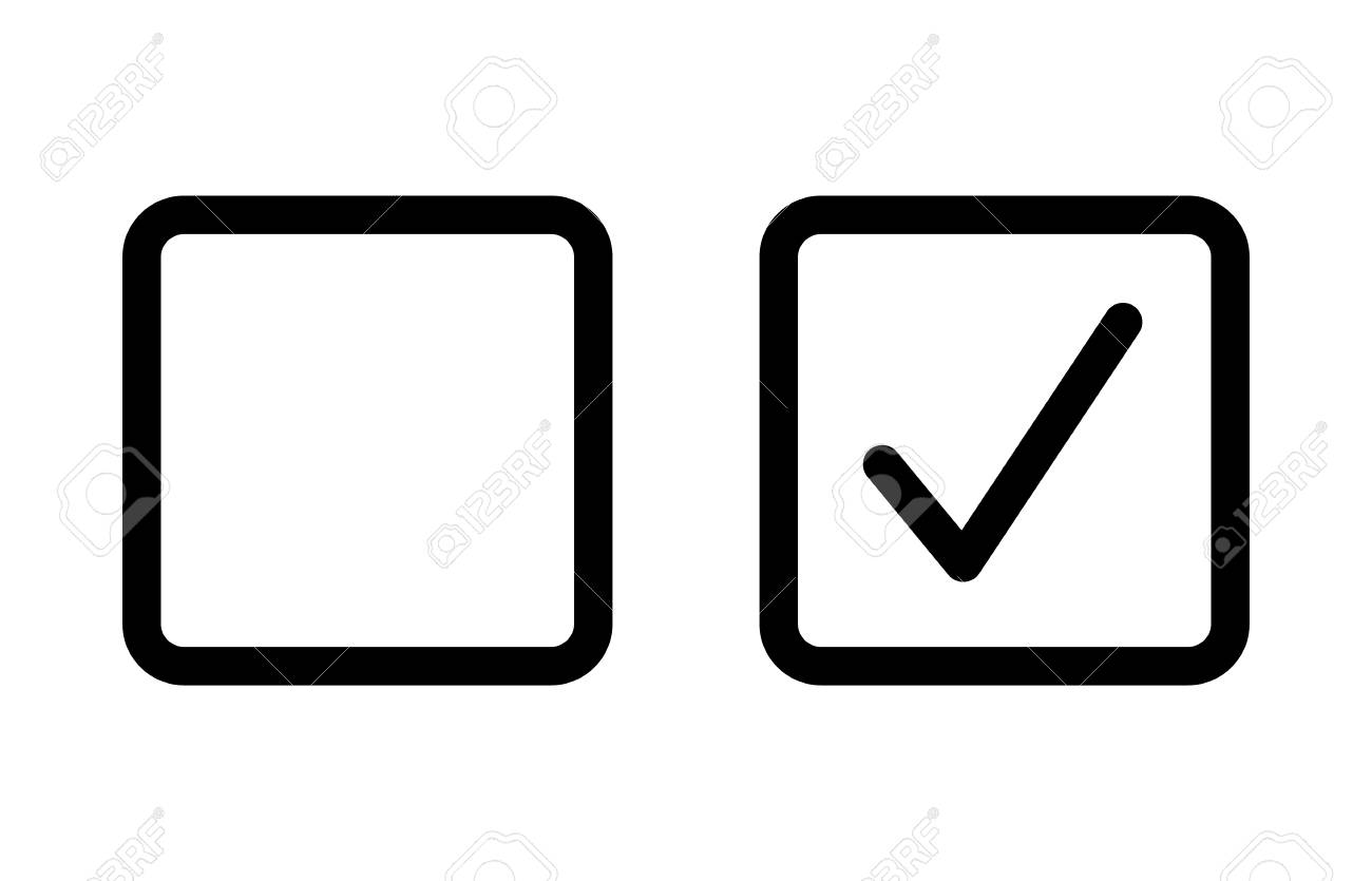 Checkbox set with blank and checked checkbox line art vector icon for apps and websites. - 98907831