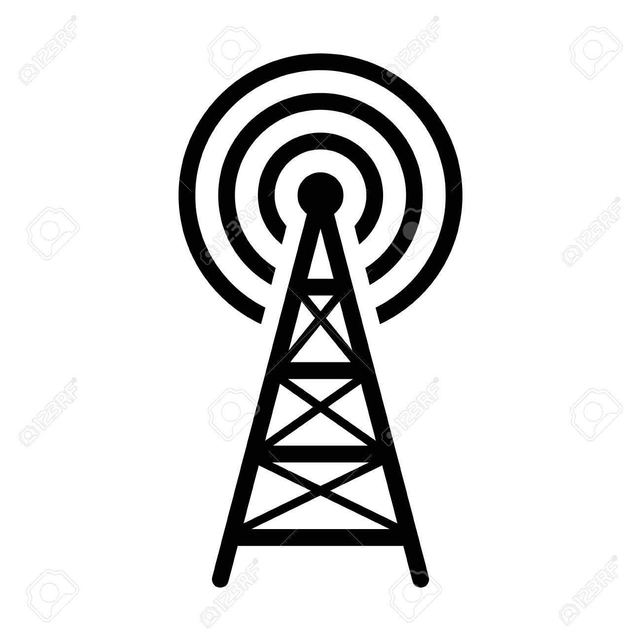 Radio tower, mast with radio waves for broadcast transmission