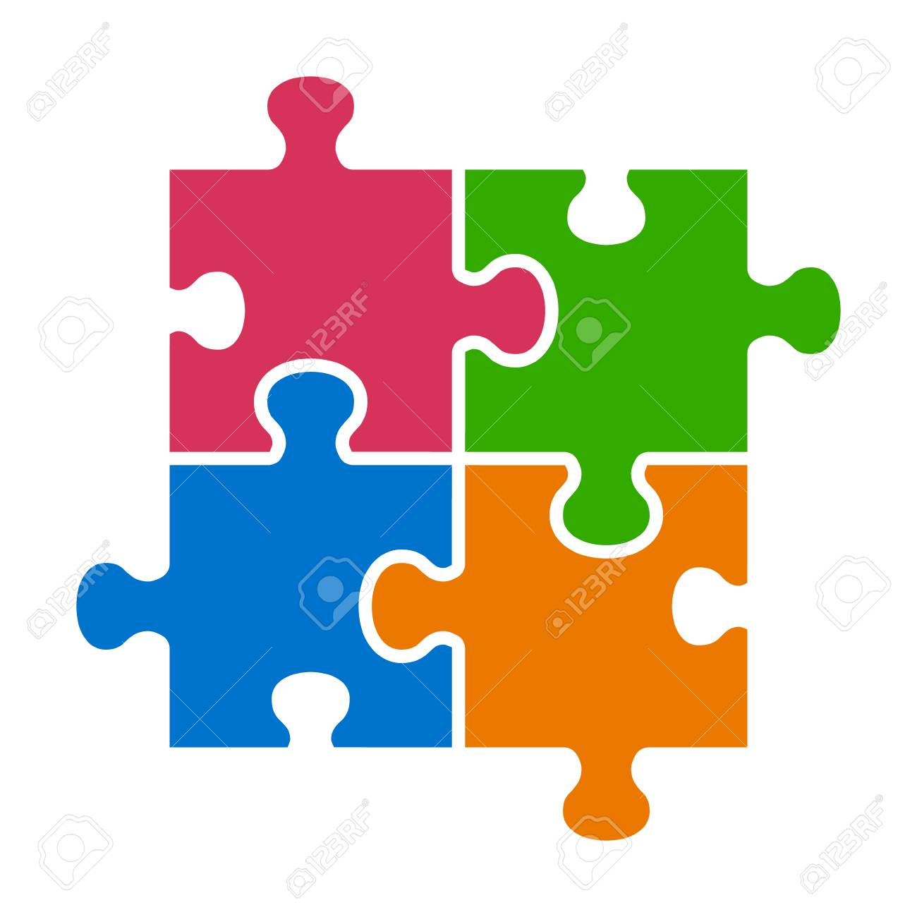 Four pieces of jigsaw puzzle or teamwork concept flat vector