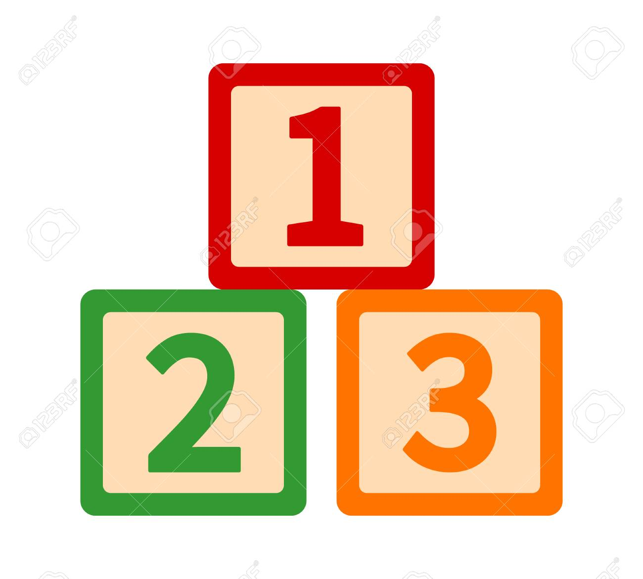 123 123s Toy Blocks Or Cubes With Numbers For Preschool Learning Royalty Free Cliparts Vectors And Stock Illustration Image 105297935