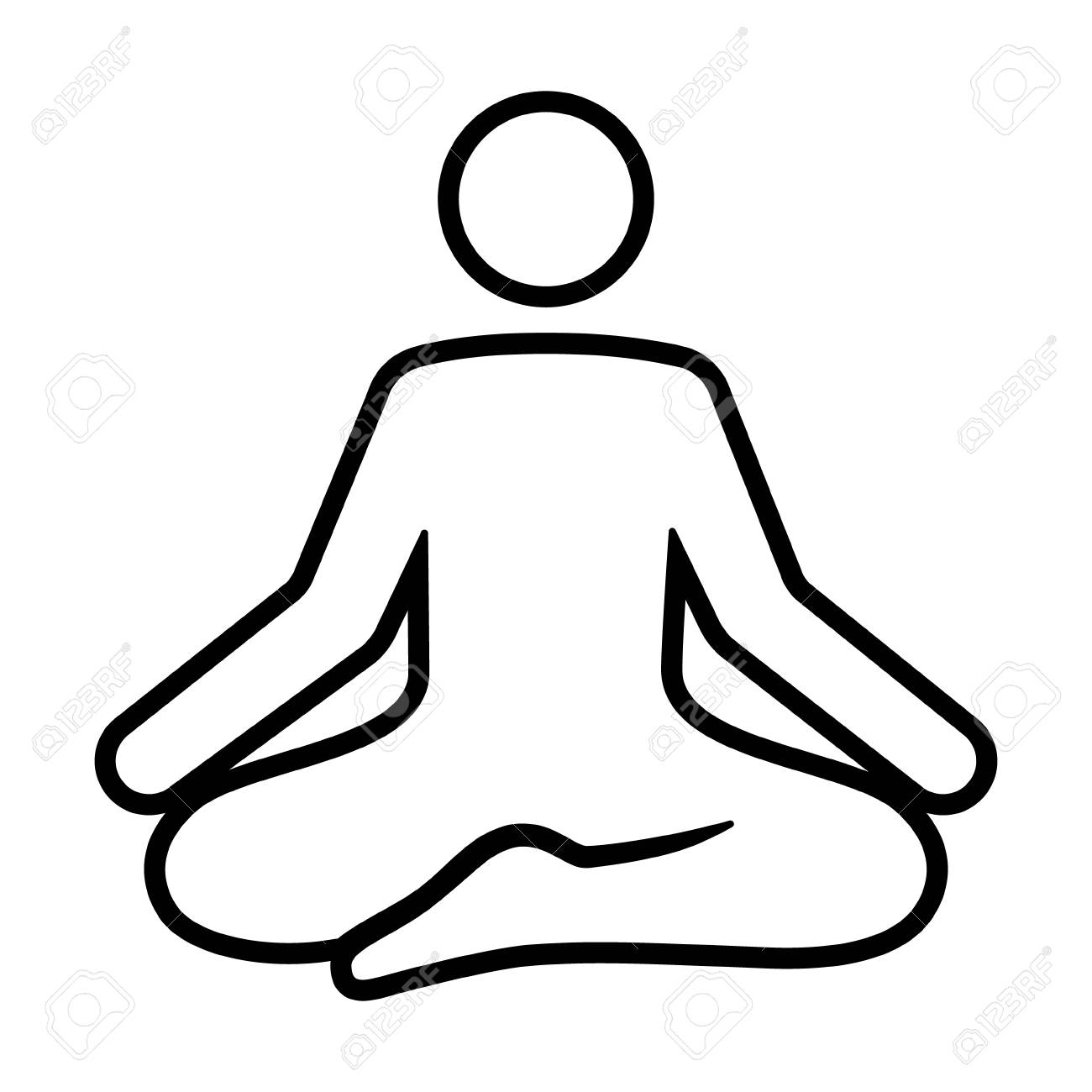A person meditating in a state of zen calmness line art vector