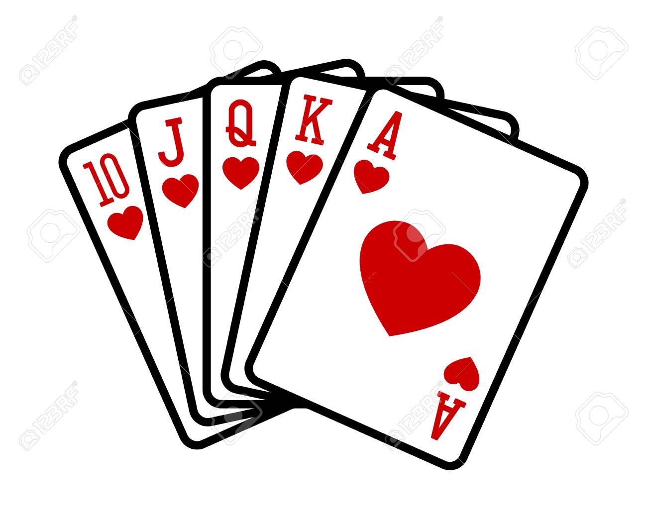 Heart Royal Straight Flush Poker Hand Flat Vector Icon For Casino Royalty Free Cliparts Vectors And Stock Illustration Image 107175280