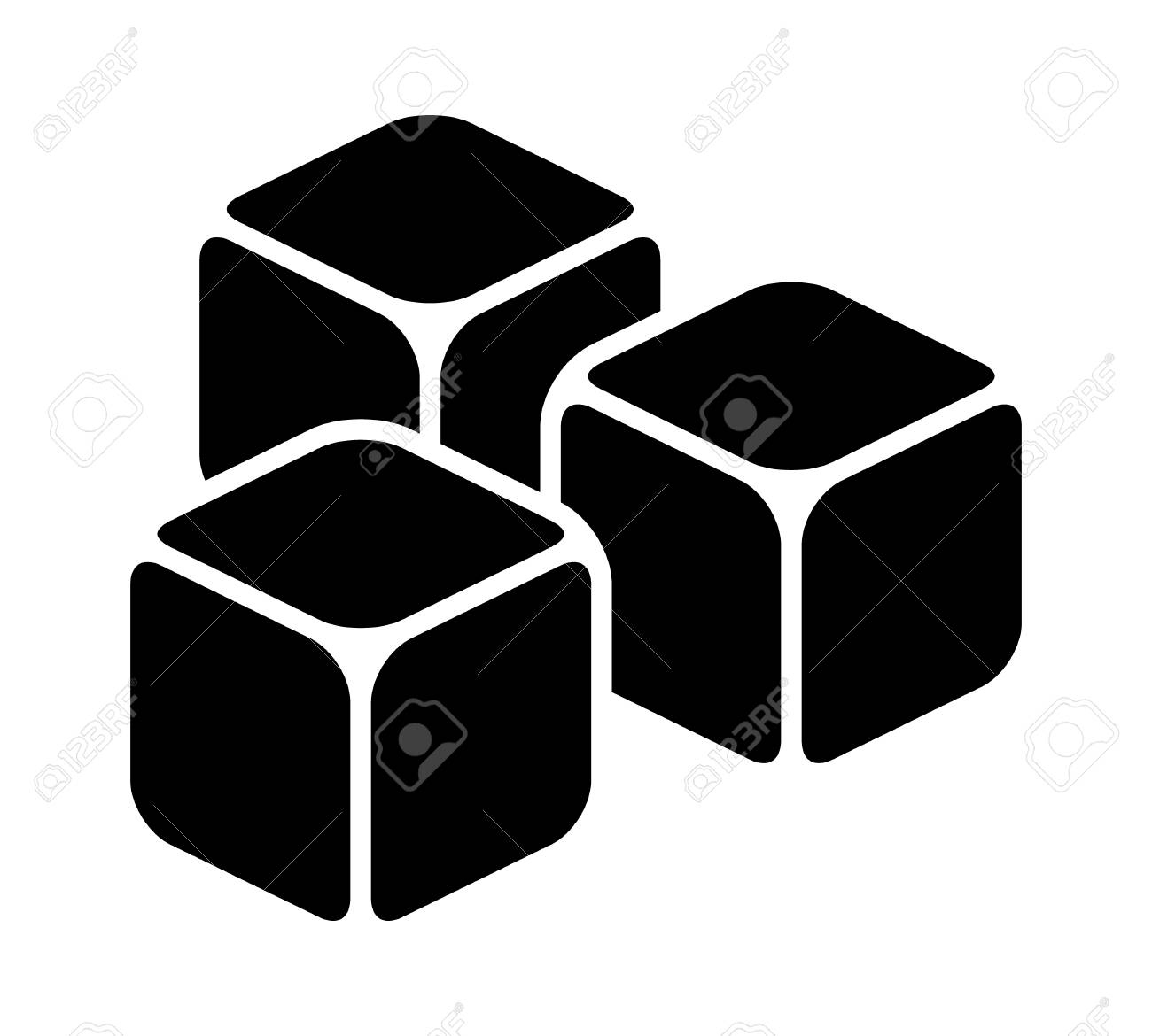 three ice cubes or sugar cubes flat vector icon for apps and royalty free cliparts vectors and stock illustration image 108396846 three ice cubes or sugar cubes flat vector icon for apps and