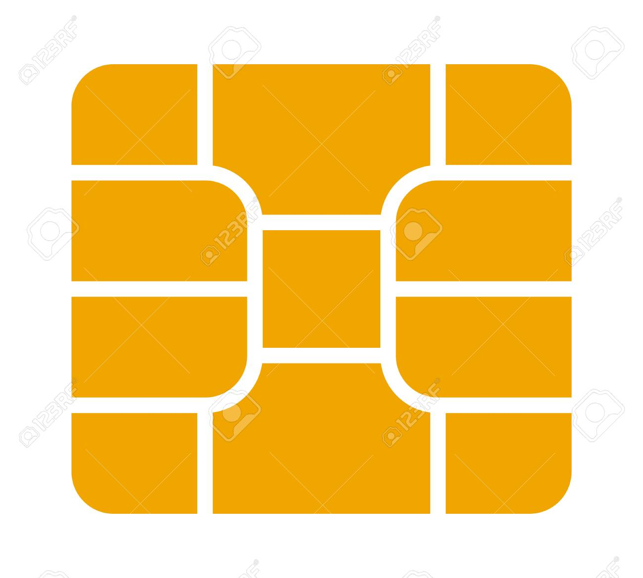 Gold credit or debit charge card emv chip flat vector icon for apps and websites - 113393157