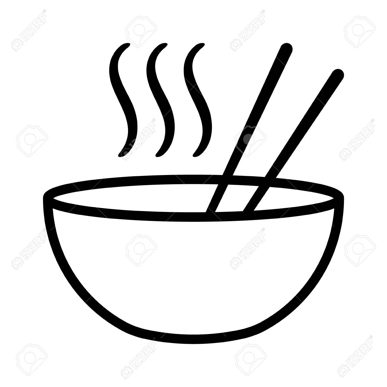 Hot Ramen Or Pho Noodle Soup Bowl With Chopsticks And Smoke Flat Royalty Free Cliparts Vectors And Stock Illustration Image 114860591