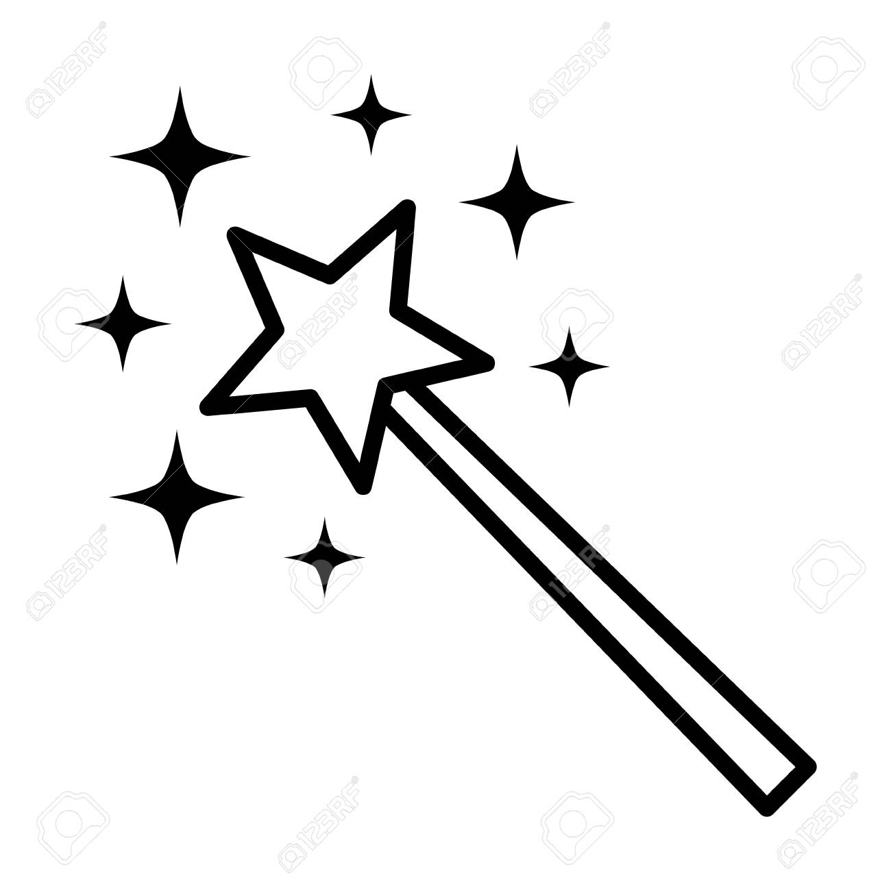 Magic wane with star and sparks or miracle wish line art vector icon for apps and games - 118411955