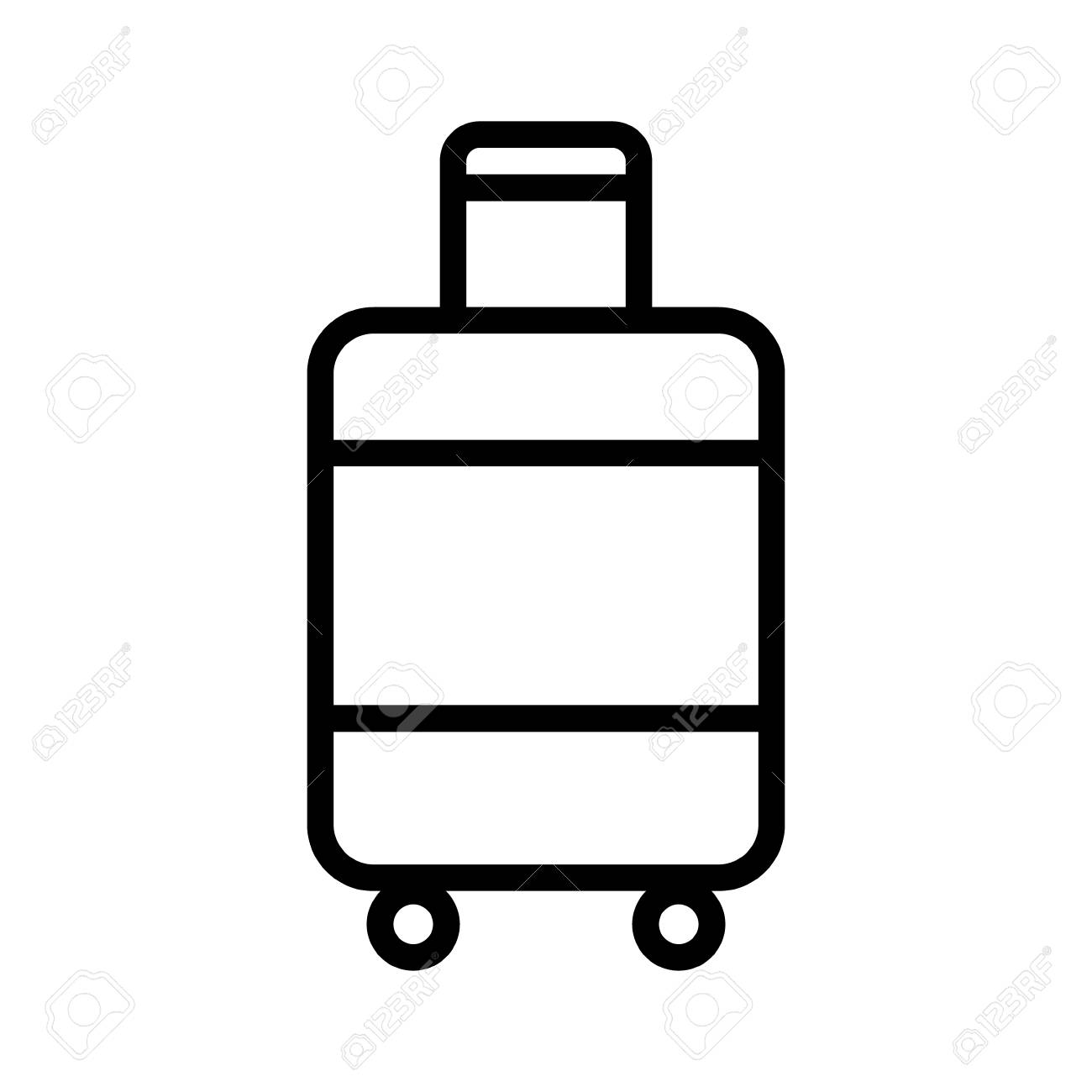 Carry-on luggage or cabin luggage line art vector icon for travel