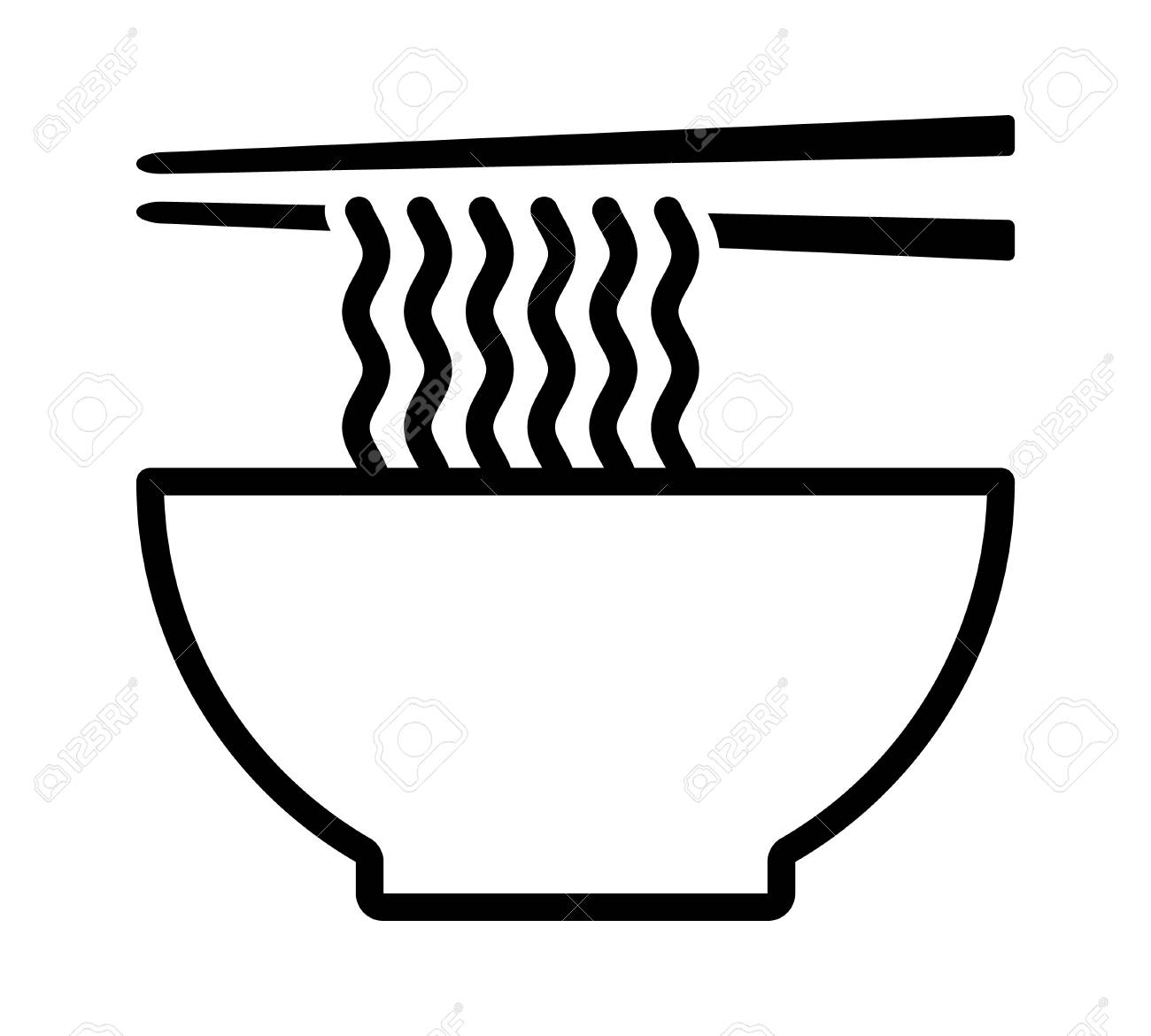 Ramen Noodle Soup Bowl With Chopsticks Line Art Vector Icon For Royalty Free Cliparts Vectors And Stock Illustration Image 118412009