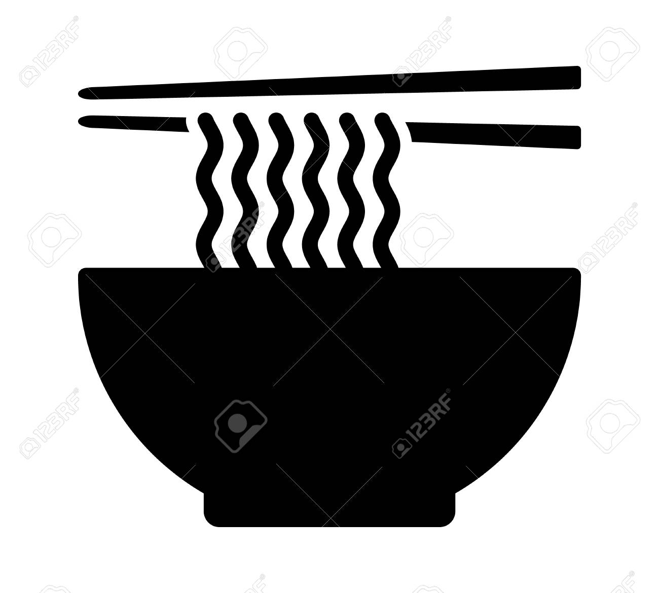 Ramen Noodle Soup Bowl With Chopsticks Flat Vector Icon For Food Royalty Free Cliparts Vectors And Stock Illustration Image 114860857