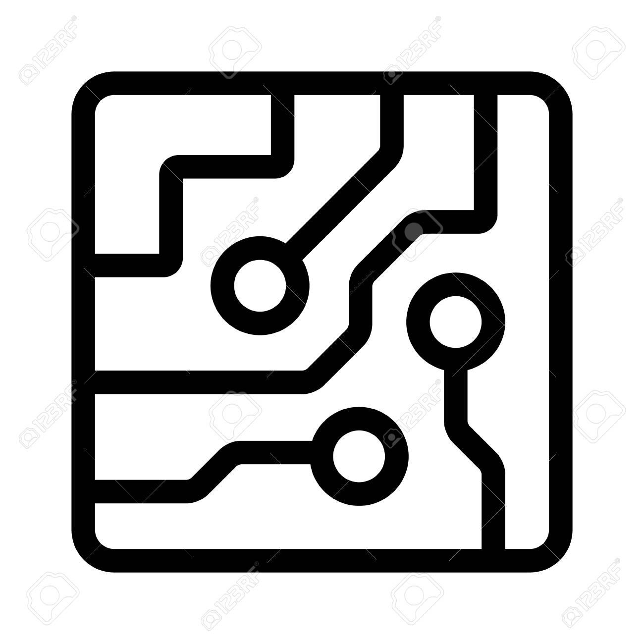 side vector circboard wiring diagram computer chip circuit board semiconductors line art vector icon  semiconductors line art vector icon