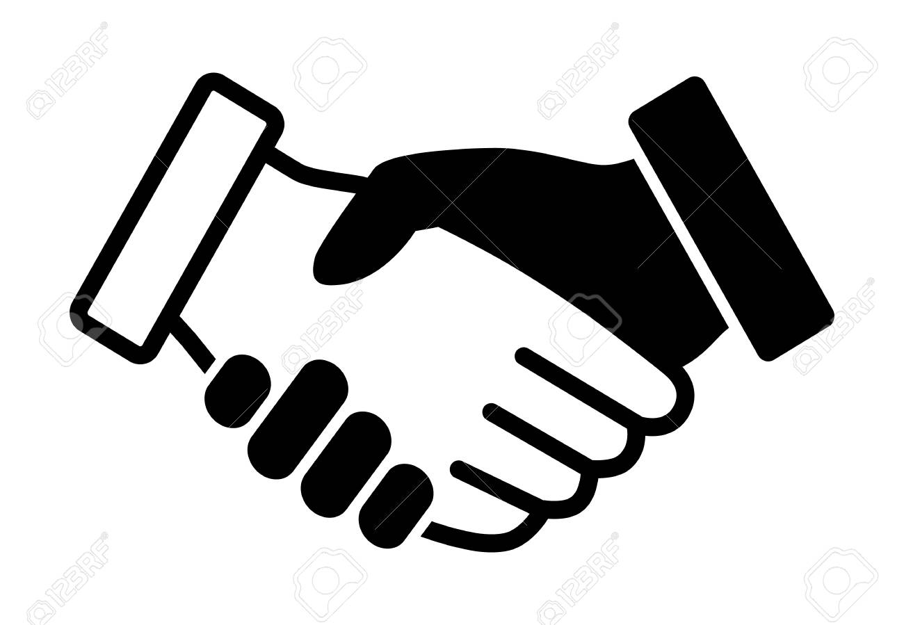 Black And White Handshake Or Shaking Hands In Unity Flat Vector Royalty Free Cliparts Vectors And Stock Illustration Image 119854227