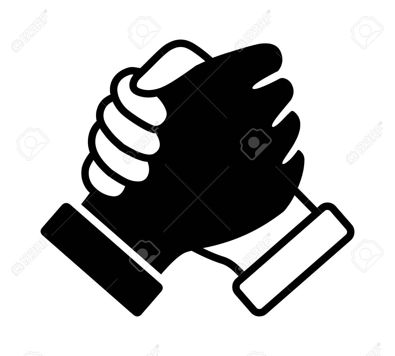 Interracial soul brother handshake, thumb clasp handshake or homie handshake flat vector icon - 120162078