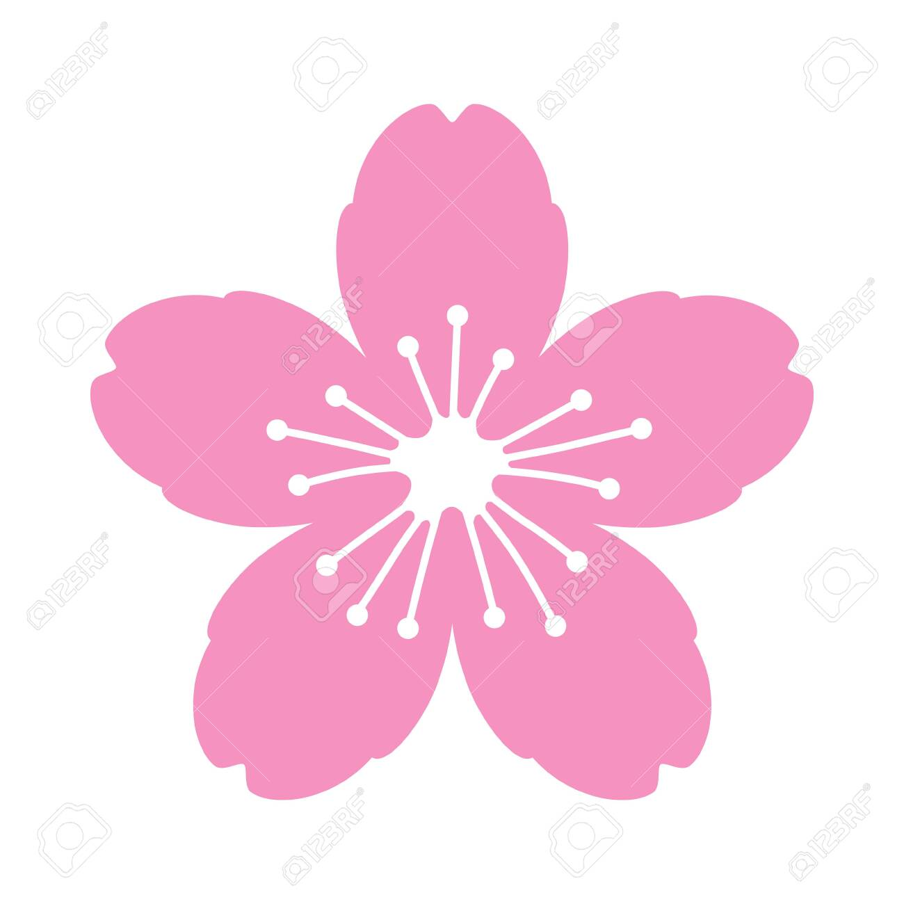 Cherry Blossom Flower Or Sakura Flat Vector Pink Icon For Apps Royalty Free Cliparts Vectors And Stock Illustration Image 121656246