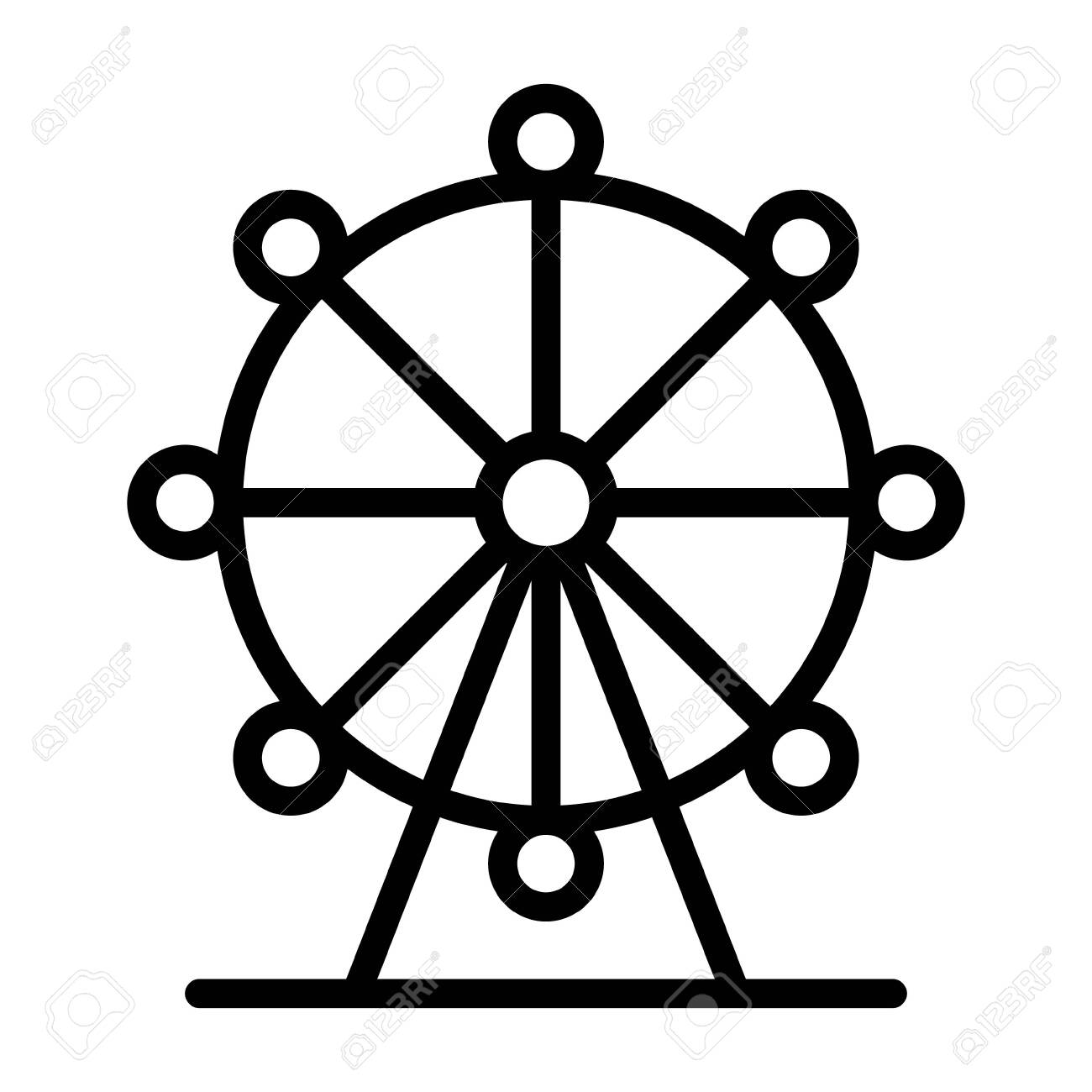 Ferris Wheel Amusement Ride With Observation Pods Line Art Vector Royalty Free Cliparts Vectors And Stock Illustration Image 136392769