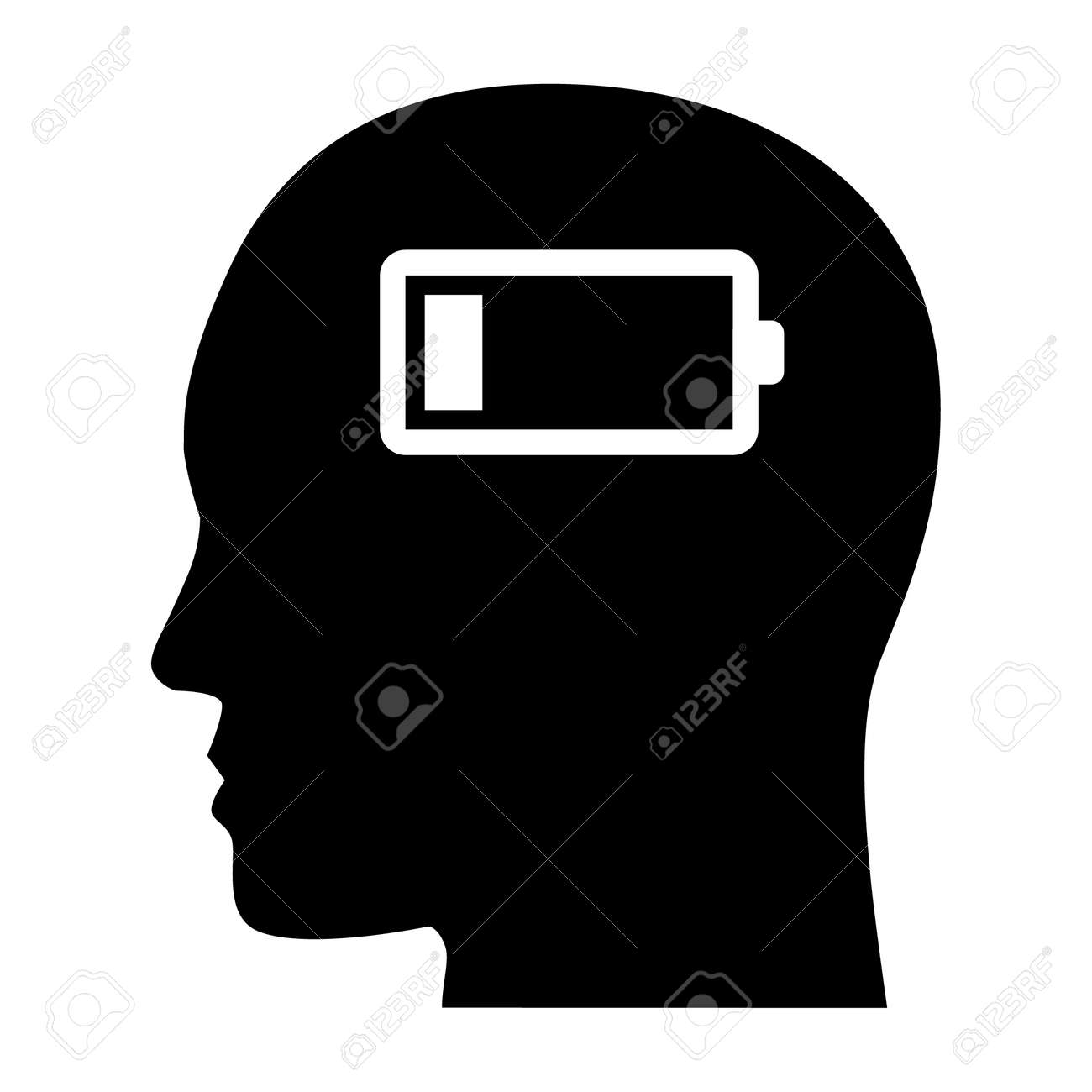 Emotionally drained, mentally drained or emotional exhaustion flat vector icon for mental health apps and websites - 161092818